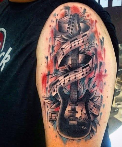 Men's Bass Guitar Tattoos