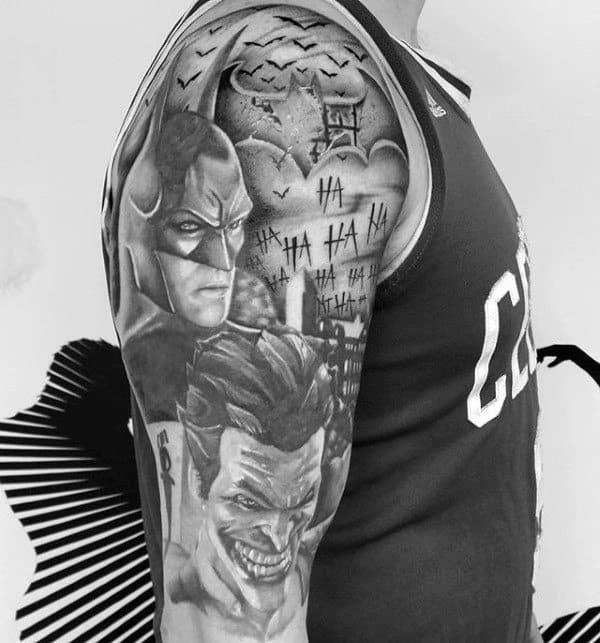 Mens Batman And Joker Themed Full Sleeve Tattoos