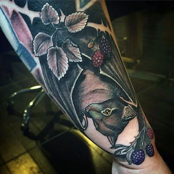 Mens Bats Tattoo With Fruit Berries On Wrist