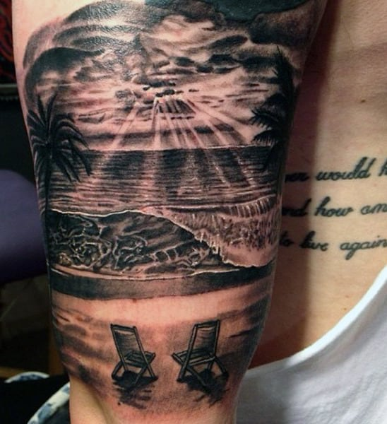 Mens Beach Scene Tattoo Designs On Arm