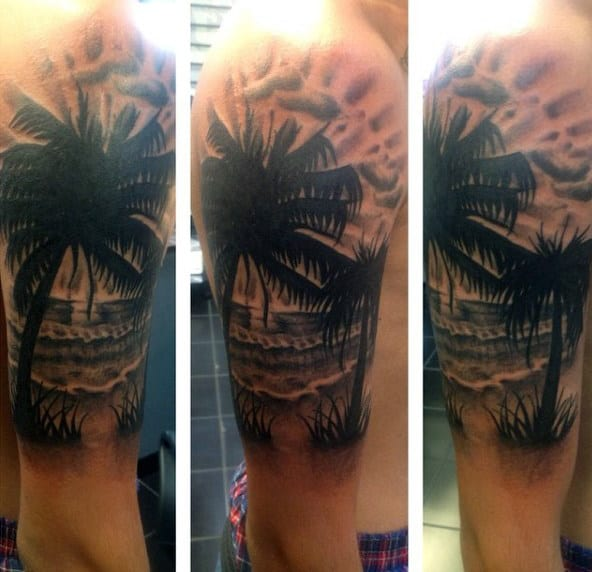 Mens Beach Scene Tattoo On Arm