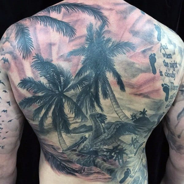 Mens Beach Scene Tattoos On Back