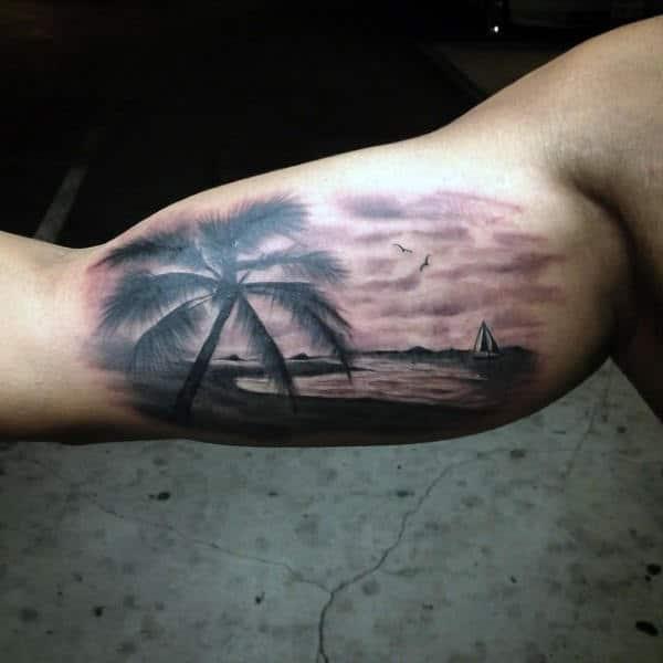 Mens Beach Tattoo Designs Bicep