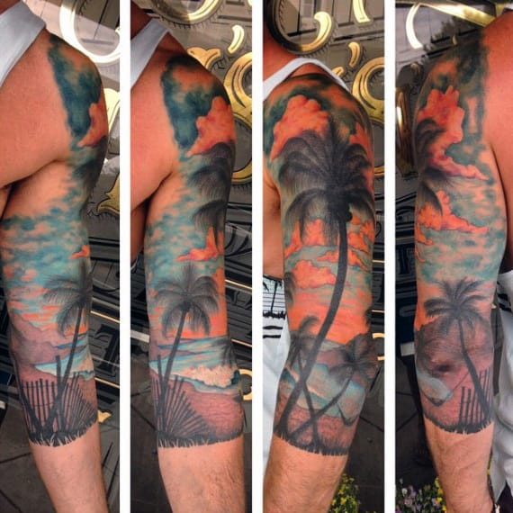 Mens Beach Tattoo Half Sleeve