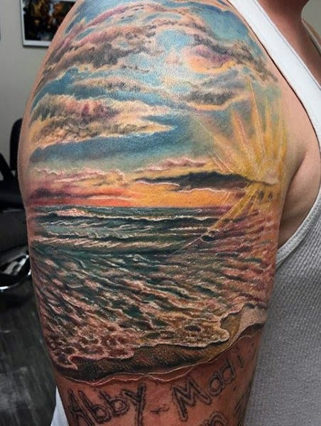 Mens Beach Themed Tattoos Sleeve