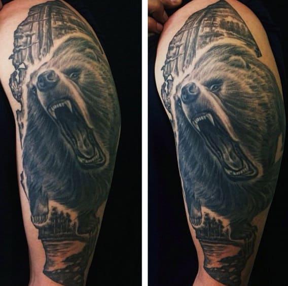 Men's Bear Claw Tattoos Half Sleeve