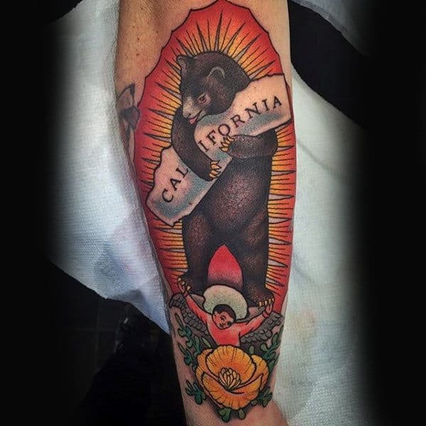 Mens Bear Hugging California Sign Forearm Tattoo Ideas