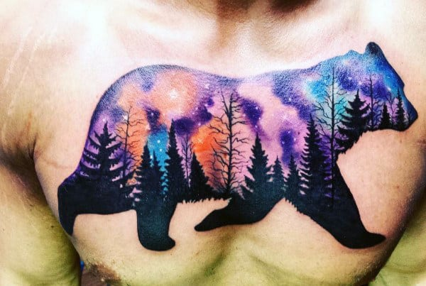 Mens Bear With Northern Lights Tattoo Design On Upper Chest