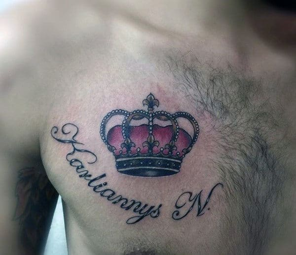 Mens Beautiful Crown Tattoo On Chest