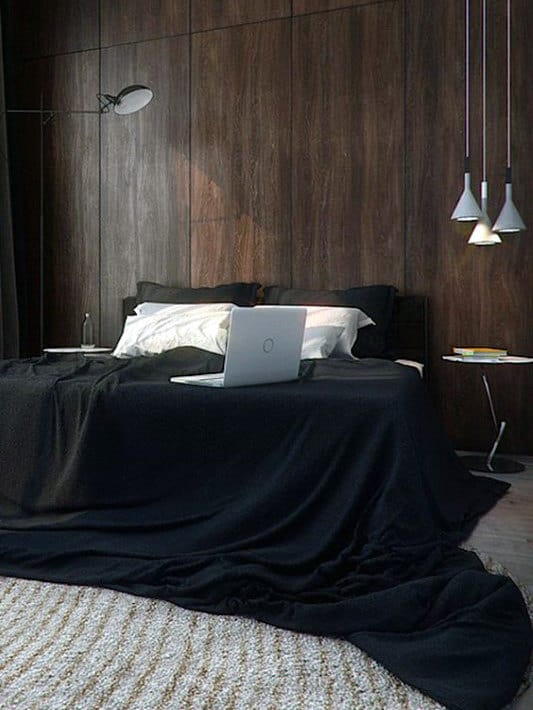Mens Bedroom Colors With Wood Panel Walls