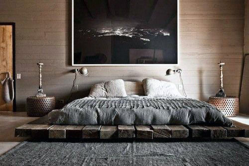 Mens Bedroom Decor Wood Beam Platform Bed