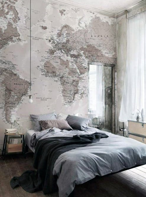 Mens Bedroom Design For Bachelor Pads Wallpaper World Map On Walls