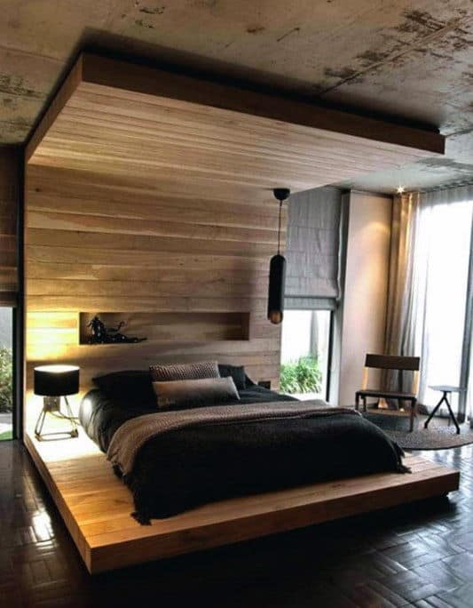 80 bachelor pad men 39 s bedroom ideas manly interior design for Wooden interior design for bedroom