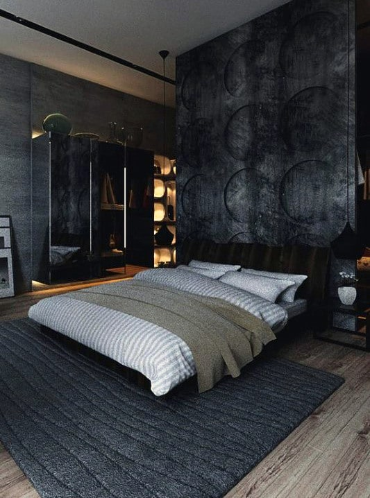 Dark Grey Bed Frame And White Furniture