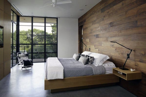 Mens Bedroom Interior Ideas For Wood Walls