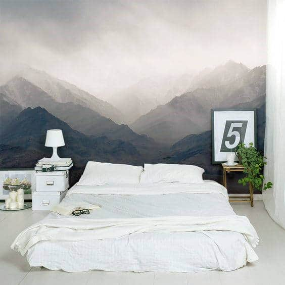 Mens Bedroom Paint Ideas With Creative Mountain Wallpaper