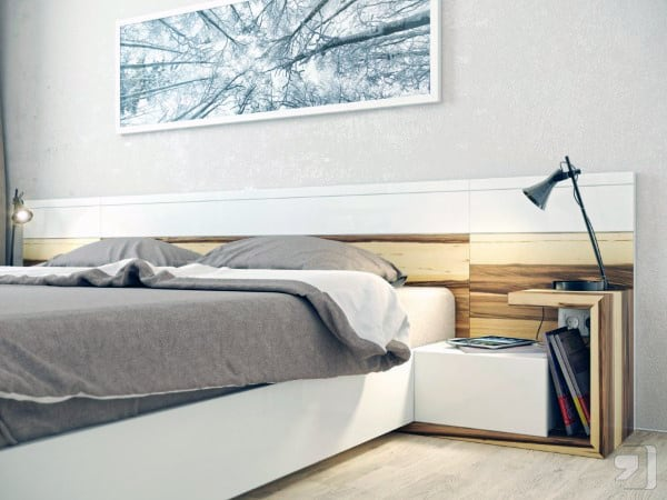 Men's Bedroom With Bedside Table