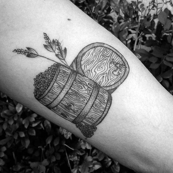 Mens Beer Tattoo Design Inspiration On Inner Arm
