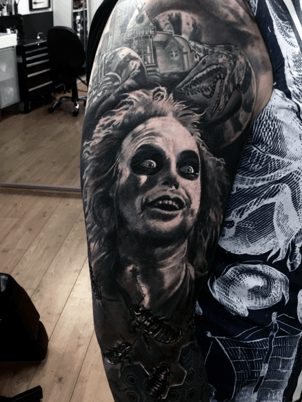 Mens Beetlejuice Half Sleeve White And Black Ink Shaded Tattoo Designs