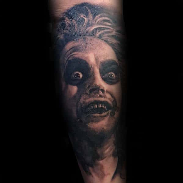 Mens Beetlejuice Movie Portrait Sleeve Tattoo