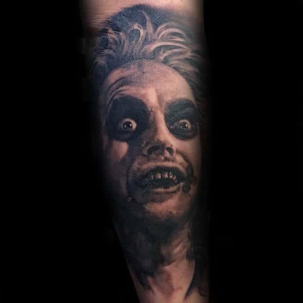 Mens Beetlejuice Movie Portrait Sleeve Tattoo