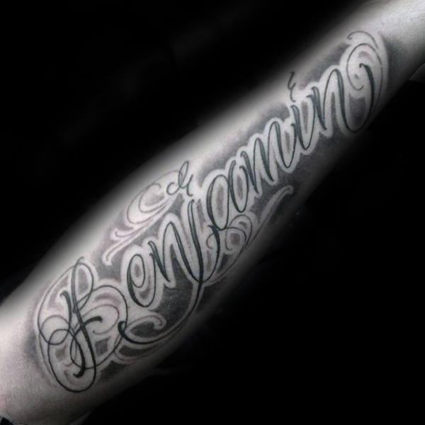 Mens Benjamin Name Negative Space Lettering Script Tattoo