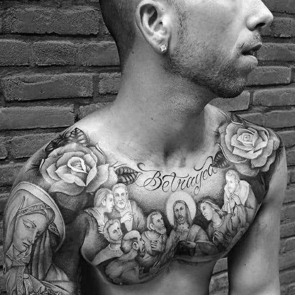 Mens Betrayal Jesus Last Supper Chest Tattoo