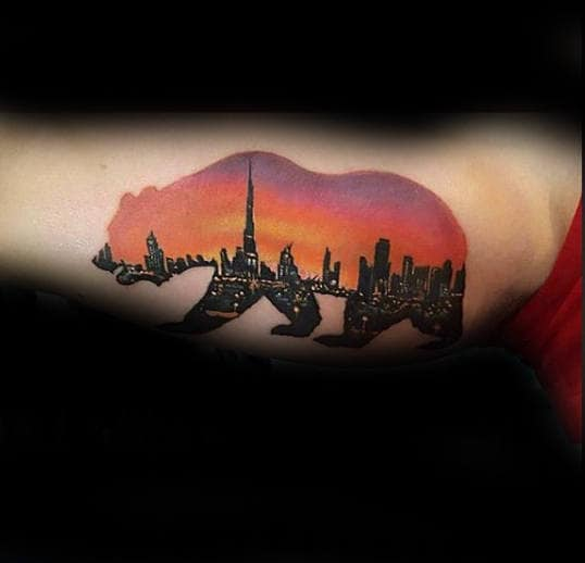 Mens Bicep California Bear City Skyline With Sunset Tattoo Design