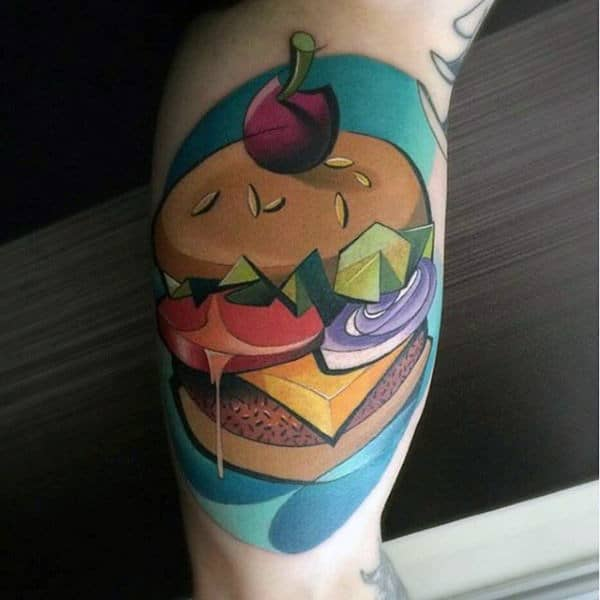 Mens Bicep Graphical Food Tattoo Of Hamburger New School Design Ideas