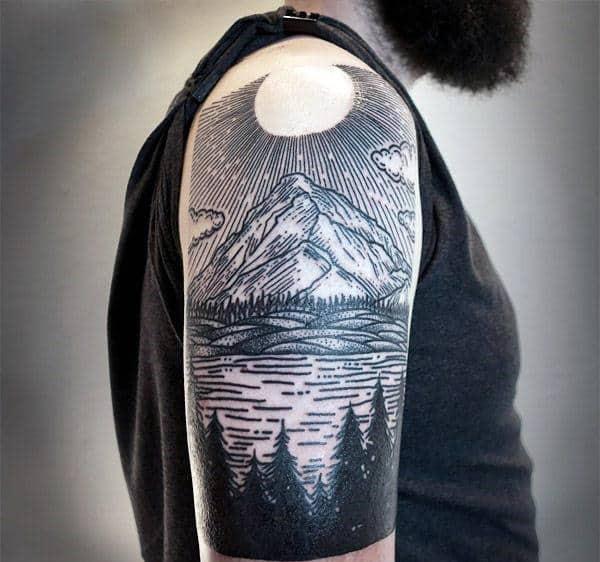 Men's Bicep Half Sleeve Pine Tree Tattoo