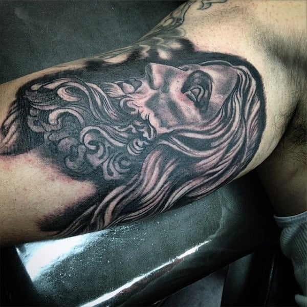 Mens Bicep Jesus Christ Tattoos