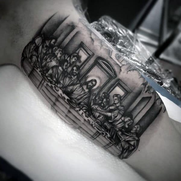 Mens Bicep Last Supper Jesus And Disciples Tattoo