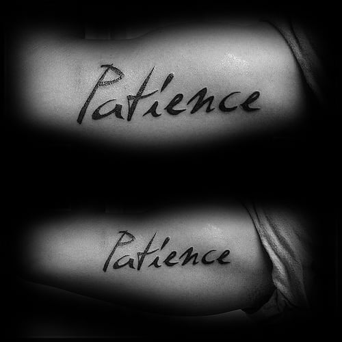 Mens Bicep Patience Tattoo Design Ideas