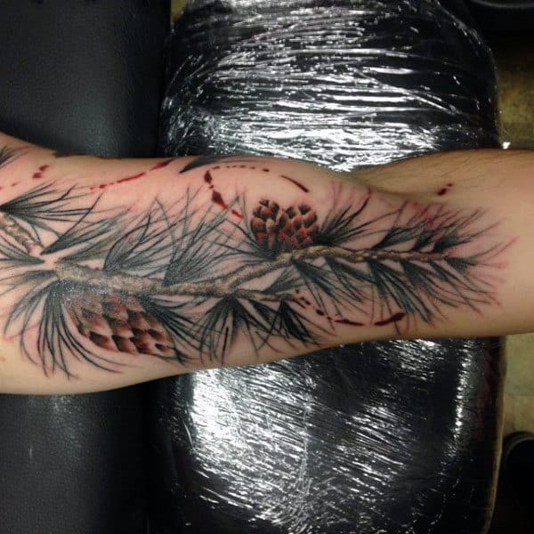 Men's Bicep Pine Tree Cones Tattoo
