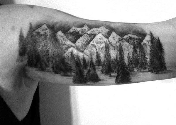 Men's Bicep Pine Tree Tattoo Design