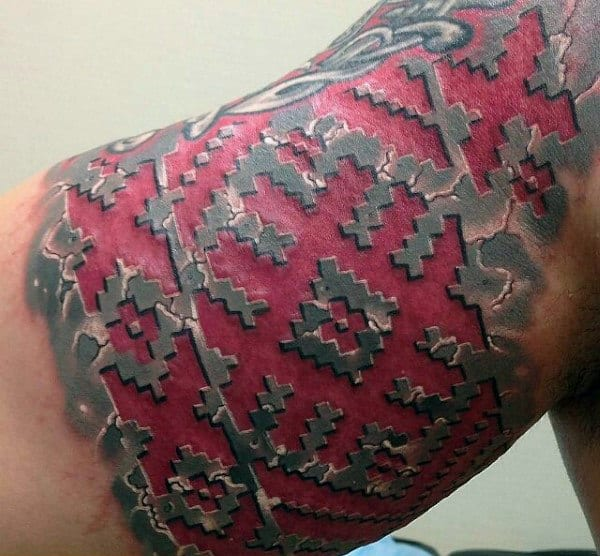 Mens Bicep Red Ink 3d Tattoo Design Inspiration