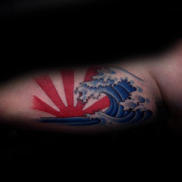 Mens Bicep Rising Sun With Blue Ocean Waves Japanese Tattoo Designs