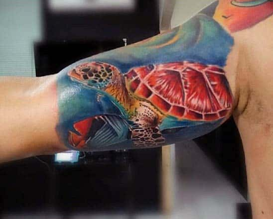 Mens Bicep Turtle Sleeve Tattoos