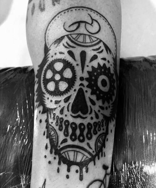 Mens Bicycle Gear Art Tattoo On Legs