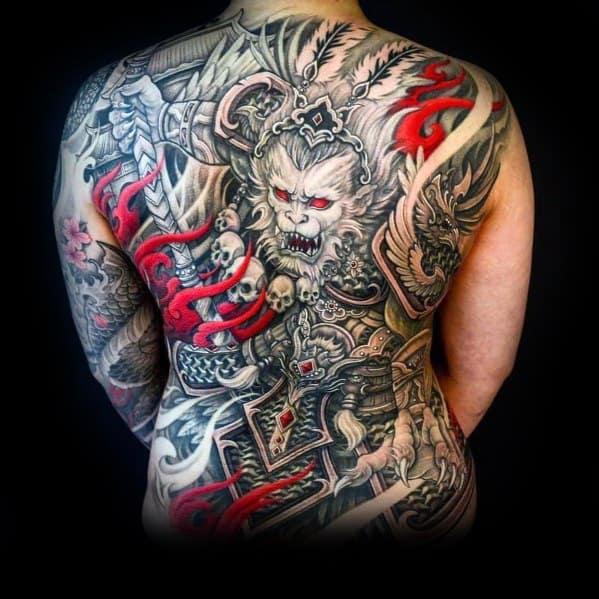 Mens Big Back Monkey Tattoo Ideas