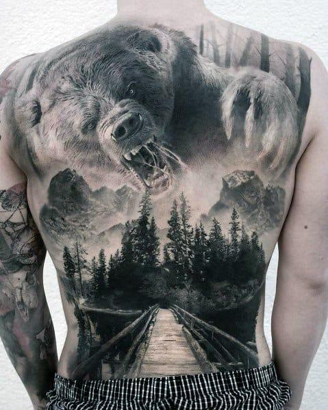 Mens Big Bear Forest Full Back Tattoo