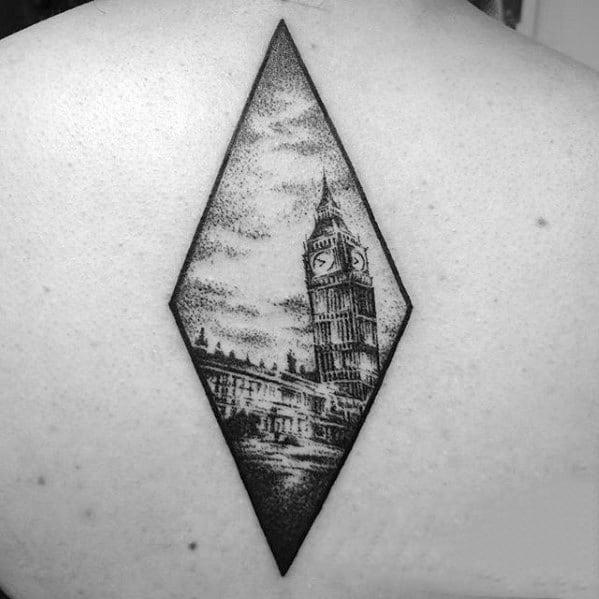 Mens Big Ben Tattoo Design Ideas On Back