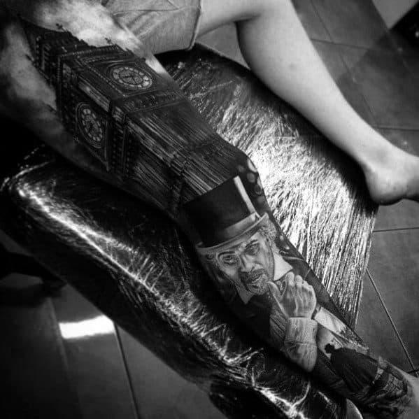 Mens Big Ben Tattoo Design Inspiration Leg Sleeve
