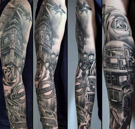 Mens Big Ben Tattoo Ideas Full Arm Sleeve