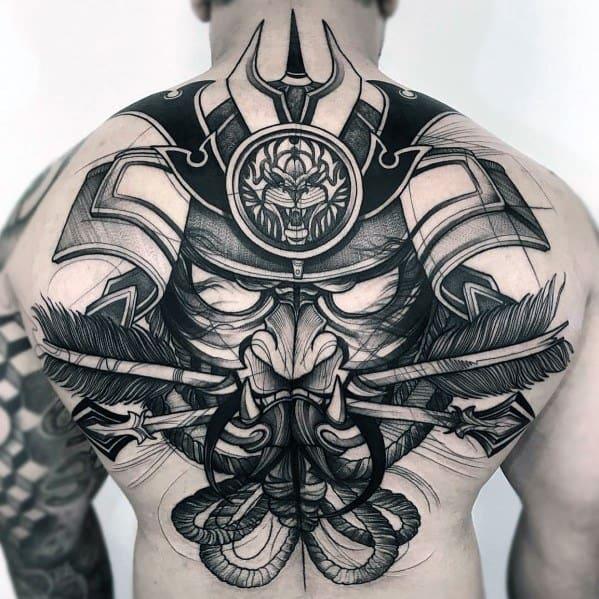 Mens Big Warrior Black Ink Back Tattoos