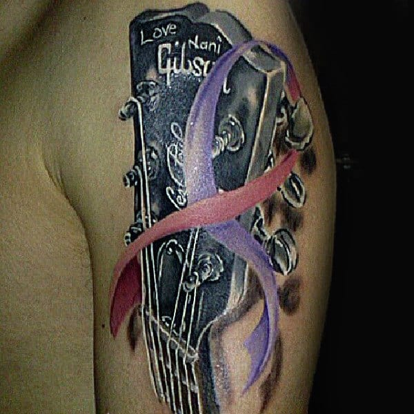 Mens Bike Chain Small Cancer Ribbon Tattoo Designs