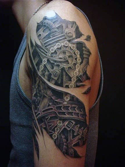 Men's Bio Mech Tattoos On Bicep