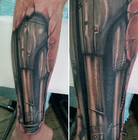 Mens Biometric Terminator Forearm Tattoo With 3d Design