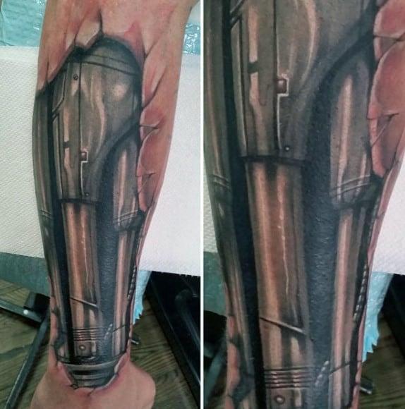 Mens Biometric Terminator Forearm Tattoo With 3d Design