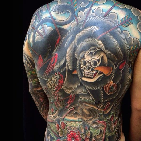 Mens Bison Skull Full Back Tattoo